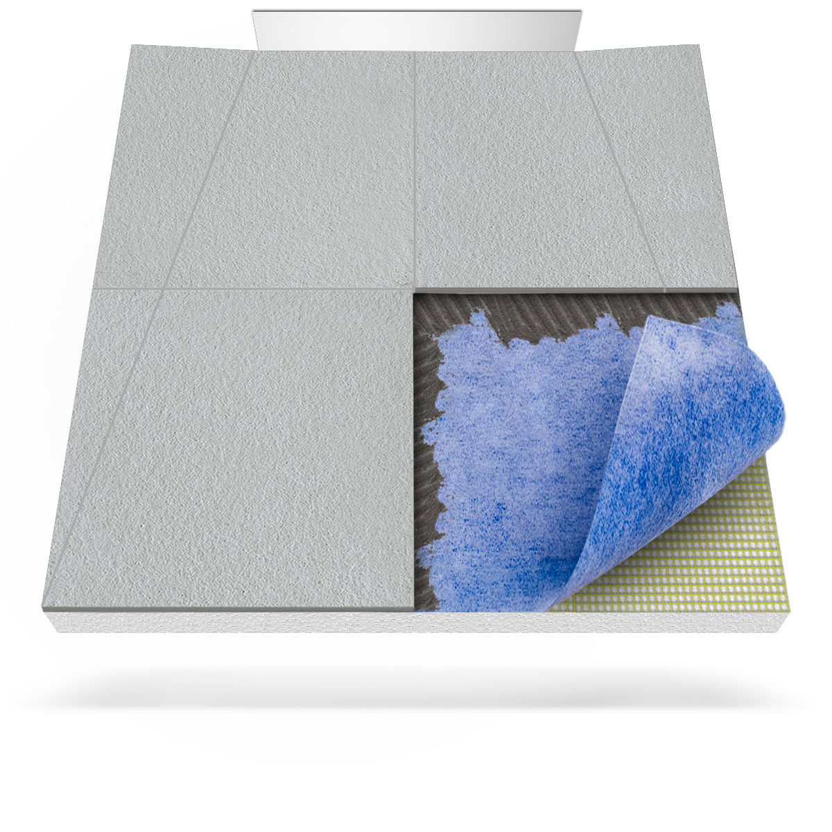 Barrier-free shower tray with a built-in sealing membrane and a wall ...