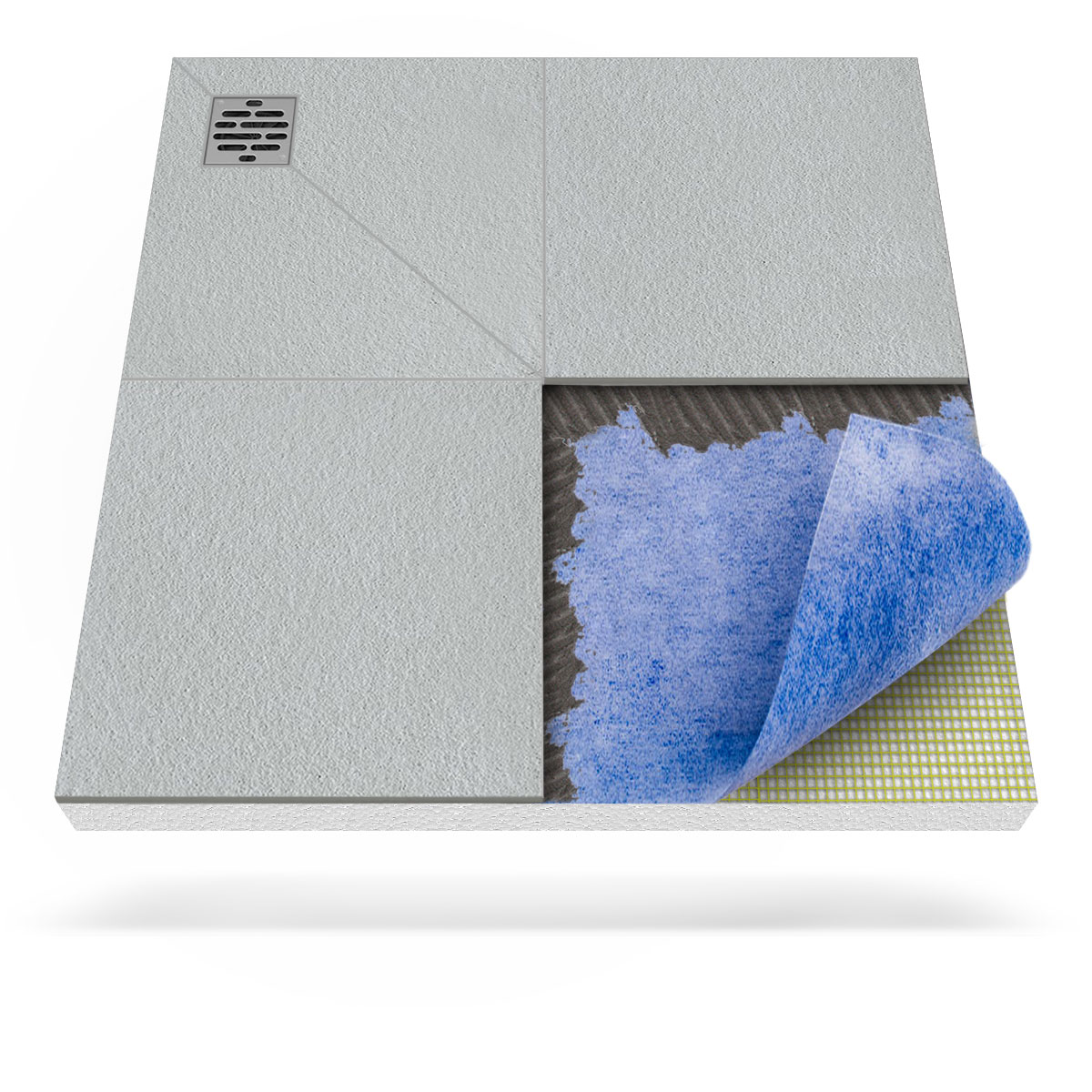 Barrier-free shower tray with a built-in sealing membrane and a ...